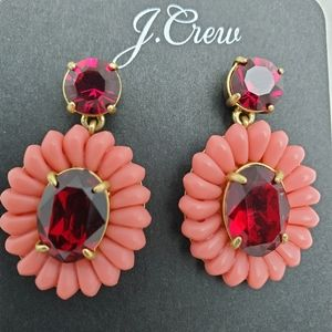 J CREW Resin Beaded Statement Earring In Red Coral
